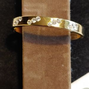 Gold Tone Bangle with Crystals
